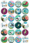 24 x Octonauts Edible Wafer Cup cake Top Toppers